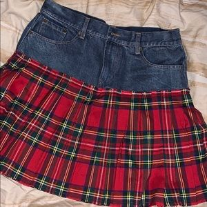 Women's never worn jean/plaid mix skirt
